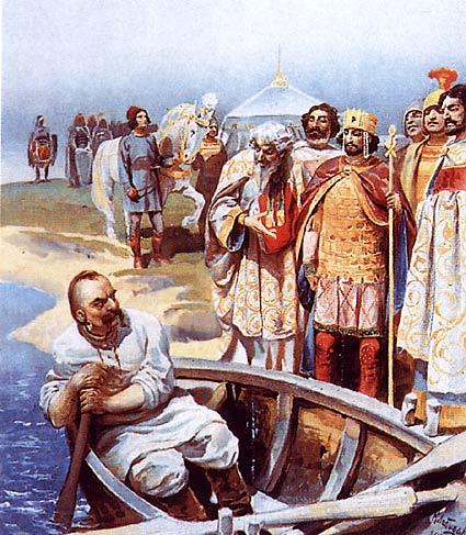 Meeting of Svyatoslav I with Emperor John Tzimiskes (by Klavdy Lebedev)