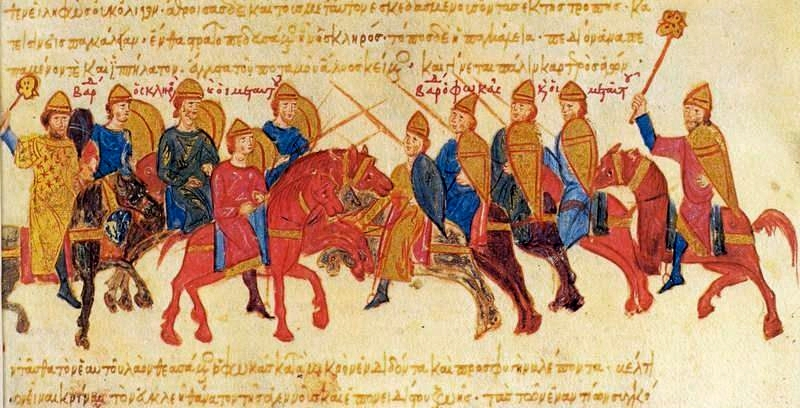 The armies of Skleros and Phokas clash (from the Madrid copy of the Chronicle of John Skylitzes)