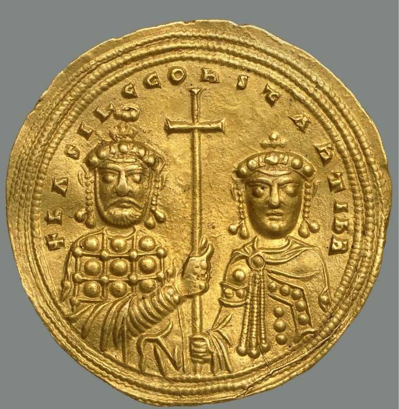 Nomisma histamenon of Basil II (Constantine VIII on right, Dumbarton Oaks)