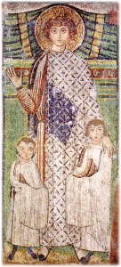The Saint guards children from the Church of St Demetrios