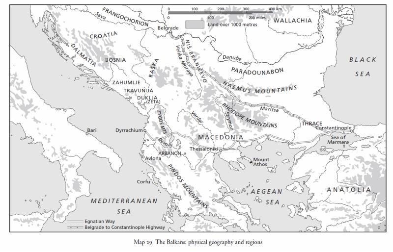 Camridge History of Byzantium Balkans map