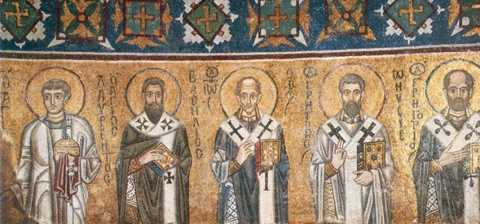 Inside are original Byzantine mosaics. Church fathers L-R St. Laurentlus, Basil the Great, John Chrysostom, Gregory of Nyssa, Gregory Wonderworker