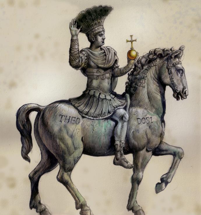 Equestrian statue of Justinian with Theodosius marking (Antoine-Helbert.com)