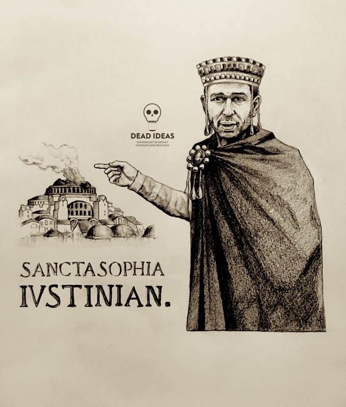 Robin Pierson as Emperor Justinian with Hagia Sophia