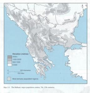 Balkans major population centres, Palgrave Atlas of Byzantium