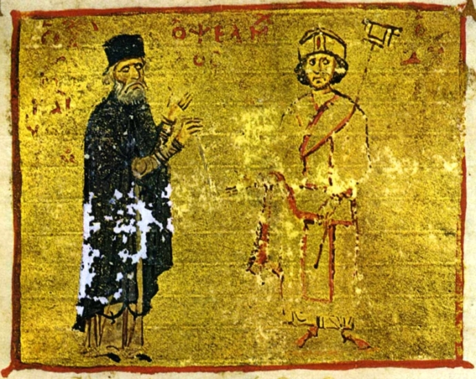 Michael Psellos (left) with his student, Emperor Michael VII Doukas