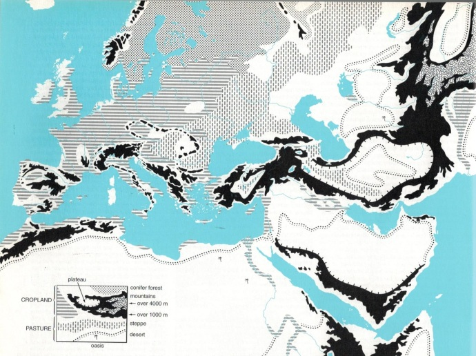 Topography of Europe and the Middle East from New Penguin Atlas of Ancient History