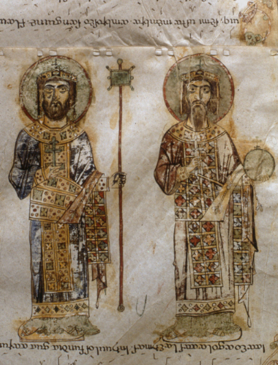 Basil II and Constantine VIII from the Bari Exultet Roll