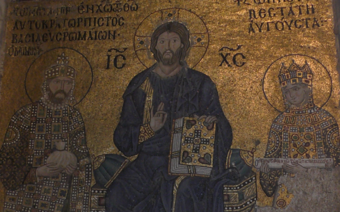 Constantine IX Monomachos (left) and Zoe (right) (mosaic in Hagia Sophia)