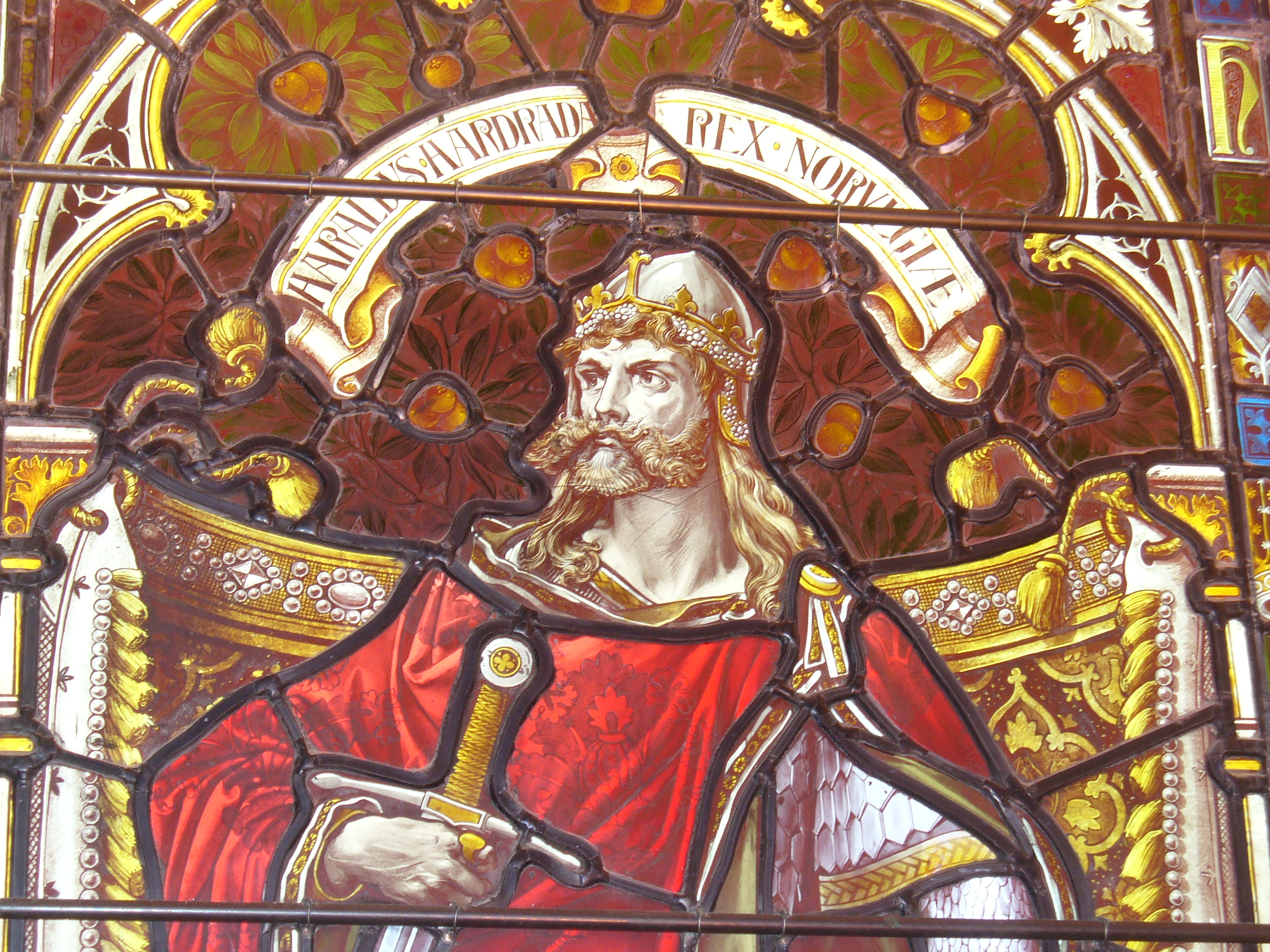 Window with portrait of Harald in Lerwick Town Hall, Shetland