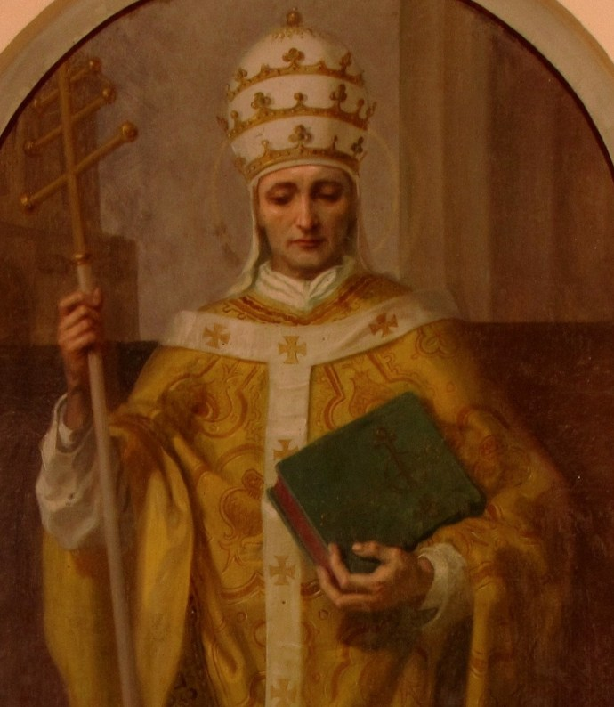 Painting of Pope Leo IX from St Kilian Church, Dingsheim, France