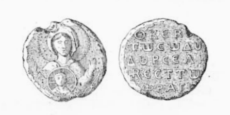 Roussel's seal, with an image of the Virgin Mary