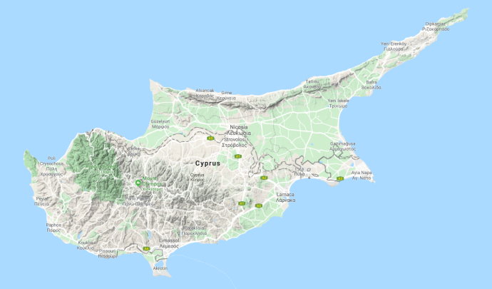 Cyprus topography today