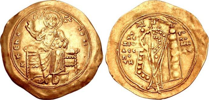 A Nomisma Hyperpyron of Alexios I (Ancient.Eu)