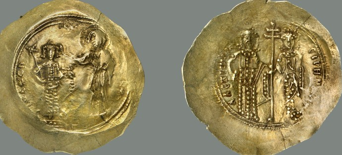 Aspron Trachy of Alexios. Dumbarton Oaks Collection (I assume John II on left with Christ. Alexios and Irene on right)