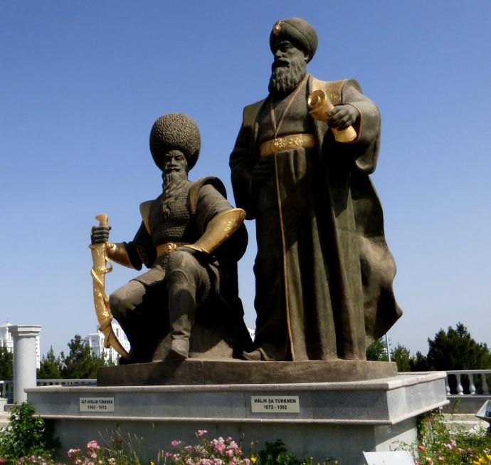 Monument to Malik-Shah I and Alp Arslan in Ashgabat, Turkmenistan