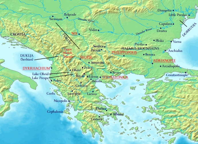 The Byzantine Balkans 1081AD. Major Roman garrisons in red.