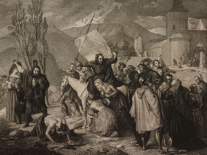 Peter Hermit on Crusade. Engraving from painting by Francesco Hayez (1791-1882)