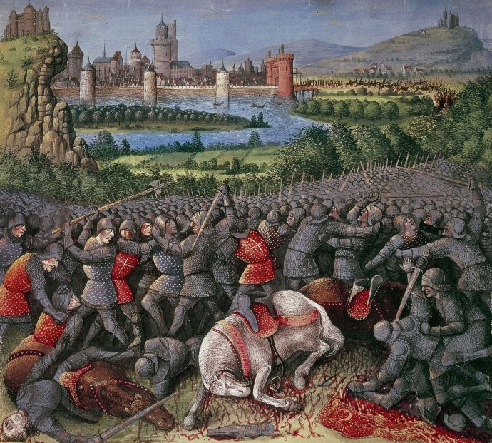 Battle outside Antioch from 'Passaiges d'outremer' (Voyages to Palestine) illuminated by Sebastian Marmoret (c1490)