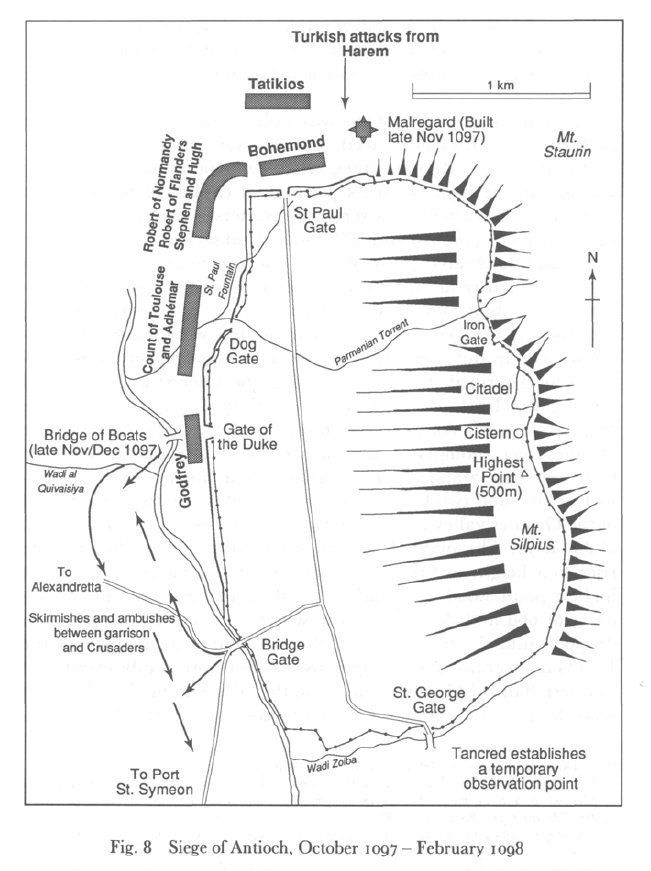 Siege of Antioch. Nov 1097 - Mar 1098 (from Victory in the East by J France)